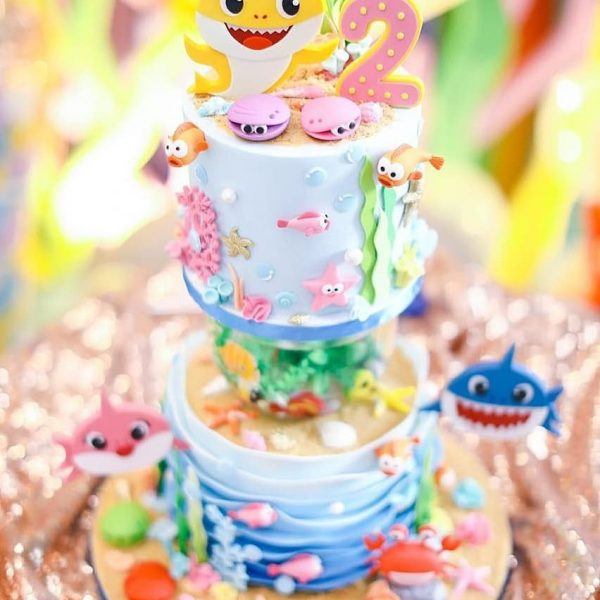 Baby Shark Ocean Cake Kids' birthday event dubai
