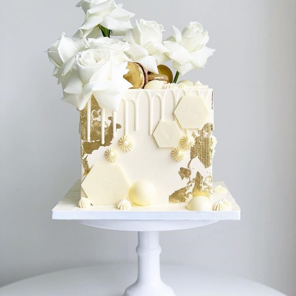 White N' Gold Box Cake for event celebration for lady dubai