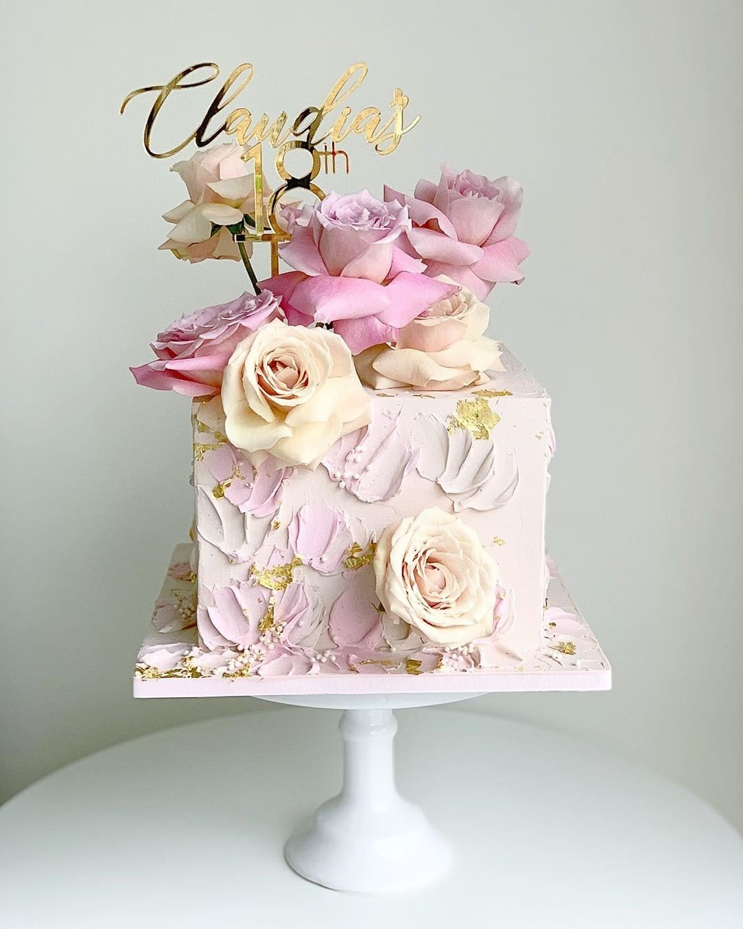 Pink Floral Box Cake best selling cake gift for lady in dubai
