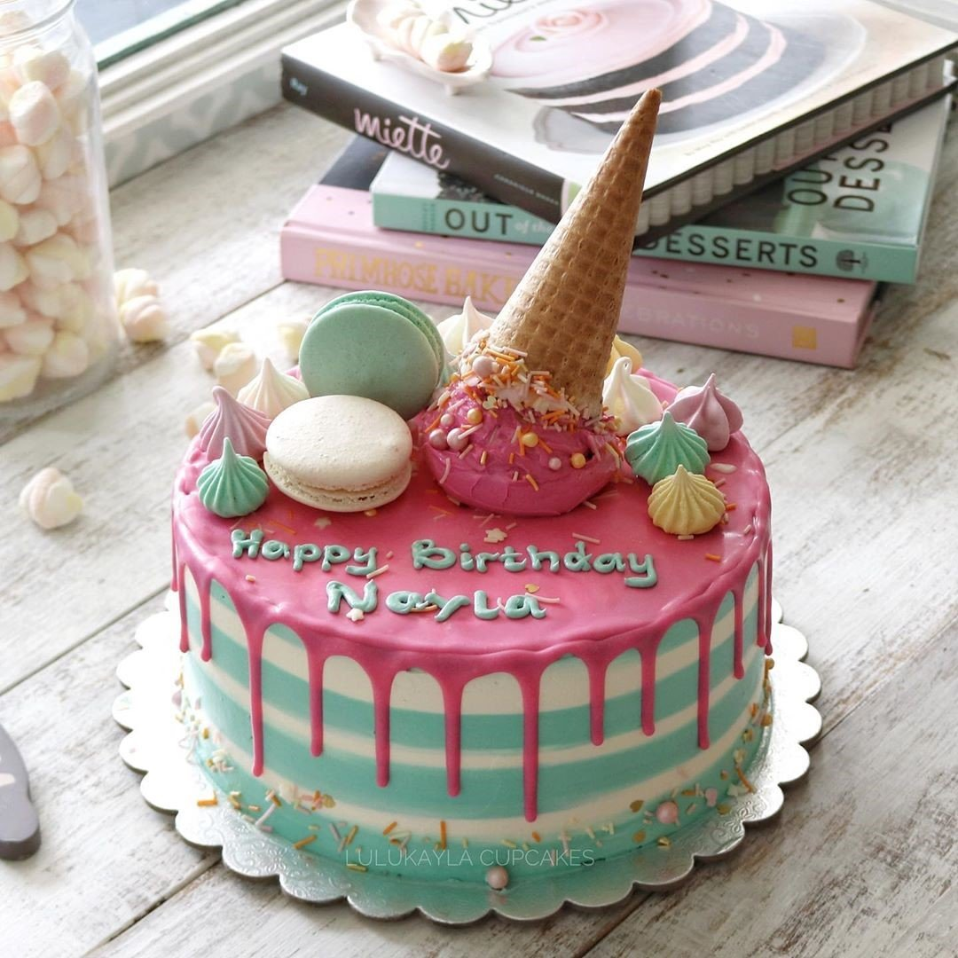 Macaroons Cream Cake - Kids' Birthday Party Cake in Dubai