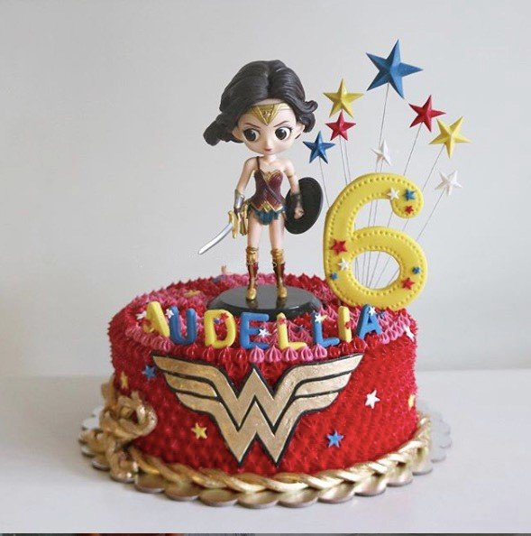 Wonder Woman Cream Cake - 2 - Kids' Birthday Party Cake